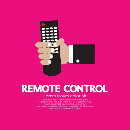 command button: Hand Holding A Remote Control  Illustration