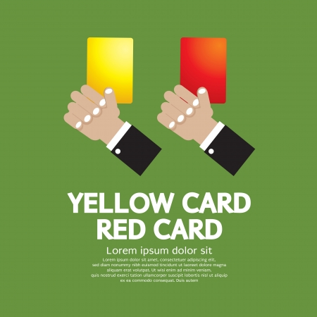 soccer referees hand with red card: Hand Holding Red Card and Yellow Card  Illustration