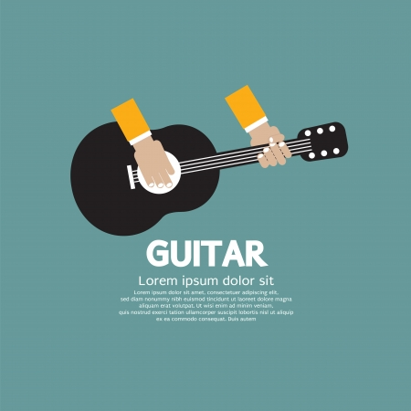 classical guitar: Guitar Playing Vector Illustration