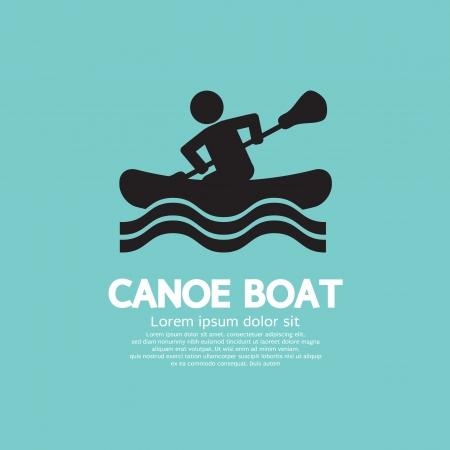 rowing: Man Row A Canoe Boat Vector Illustration