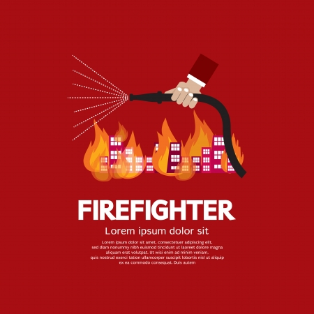 water hoses: Firefighter Vector Illustration
