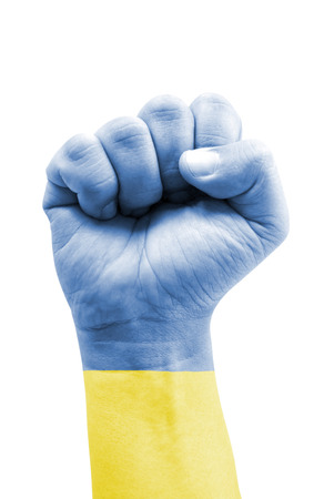 Ukraine Flag Fist Painted Isolated on White  photo