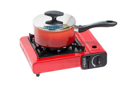 nonstick: Non-Stick Pot on Portable Gas Stove Isolated on White
