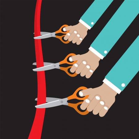 inaugural: Cut Ribbon Opening Ceremony Illustration