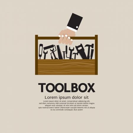 artesano: Mano que sostiene una caja de herramientas del mecánico