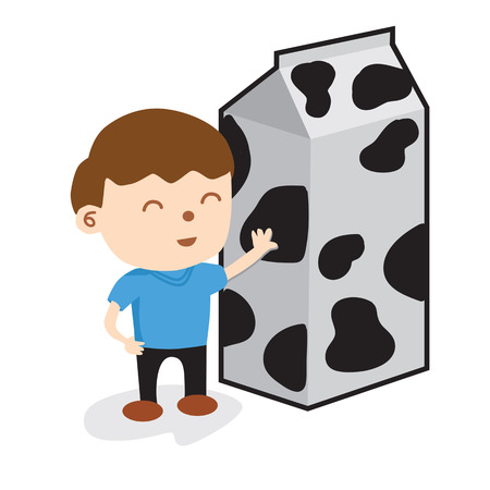 A Boy Standing With Carton Of Milk Vector