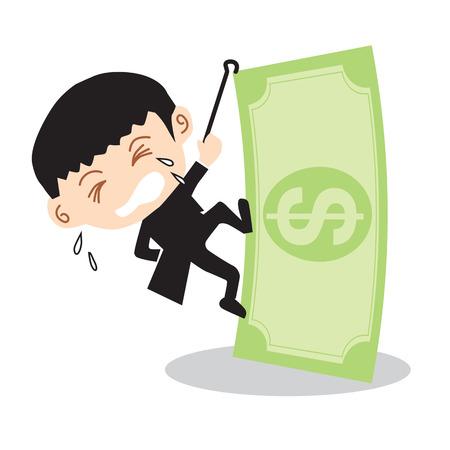 Businessman Climbing Banknote Vector