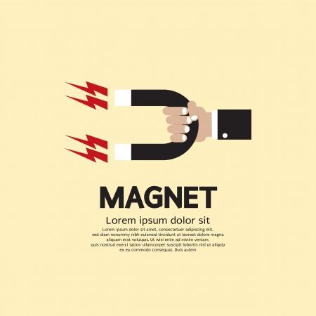 magnetismo: Mano Un magnete Vettoriali