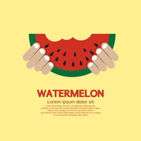 melon fruit: Hand Hold A Piece Of Watermelon