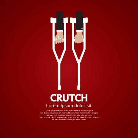 crutches: Hand Holding A Pair Of Crutch