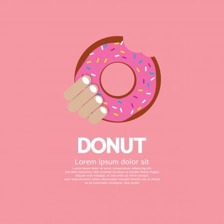 Hand Holding A Tasty Doughnut  Illustration