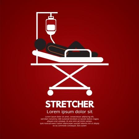 Patient Lay Down On Stretcher  Vector