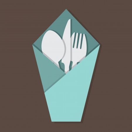 Knife Fork Spoon Set In Table Napkin  Vector