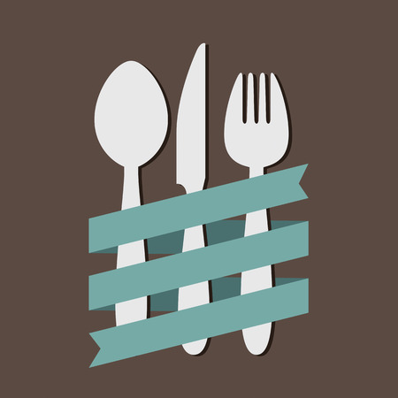 Spoon Knife Fork With Ribbon Flat Vector Illustration