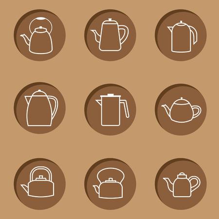 Flat Design Kettles Icon Set Vector