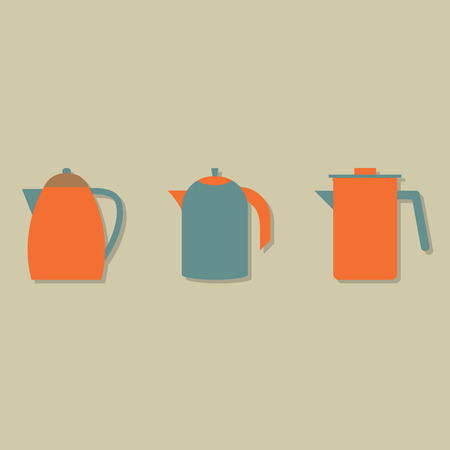 Flat Design Kettles Set Vector