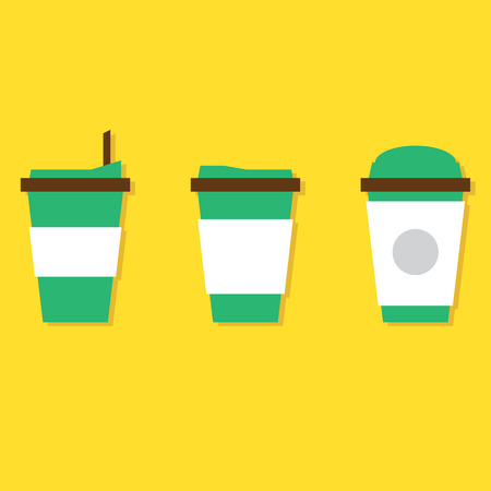 coffee cup vector: Flat Design A Set Of Hot Coffee Paper Cup Vector
