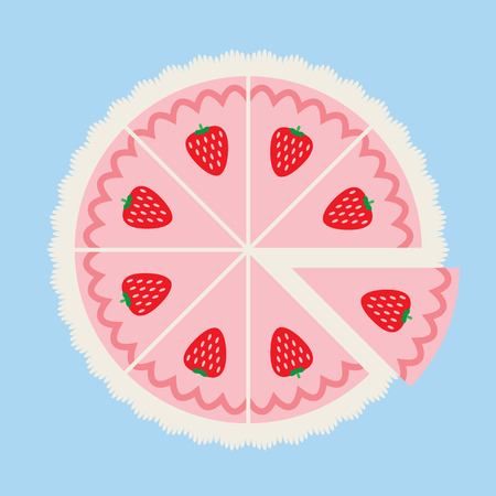 Strawberry Cake Illustration Illustration