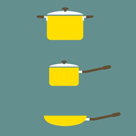 Set of Cooking Pot And Pan Flat Design Vector