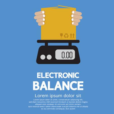 electronic balance: Cardboard Box In Hand On Electronic Balance Illustration