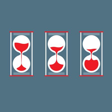 three object: Three Step Of Hourglass Flat Design Illustration