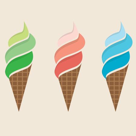 serve: Ice Cream Colorful Set Illustration