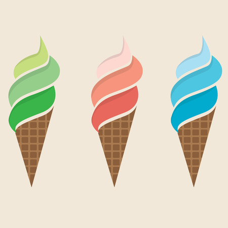 Ice Cream Colorful Set Illustration