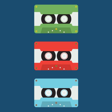 audio cassette: Flat Design Cassette Tape Vector Illustration