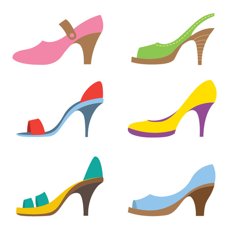 Set Of Colorful High Heels Shoes