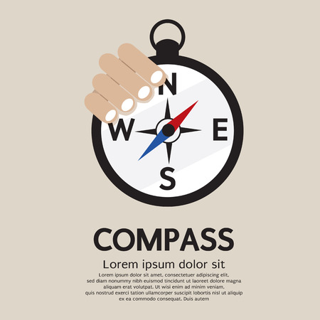 Hand Holding A Compass Vector