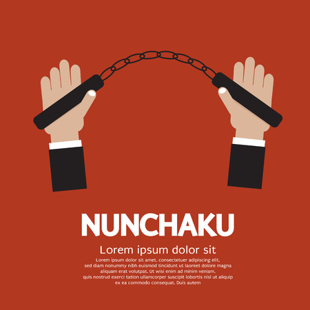 Hand Holding A Nunchaku Illustration