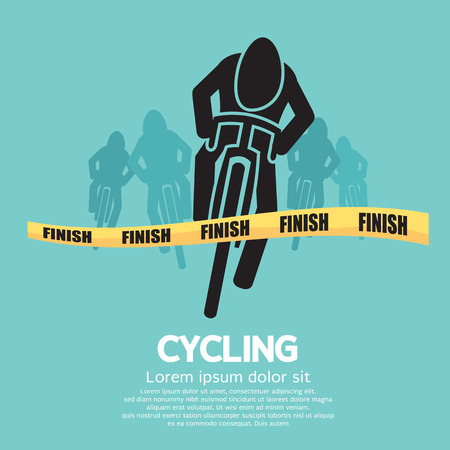 cycling silhouette: Cyclist At Finish Line Illustration