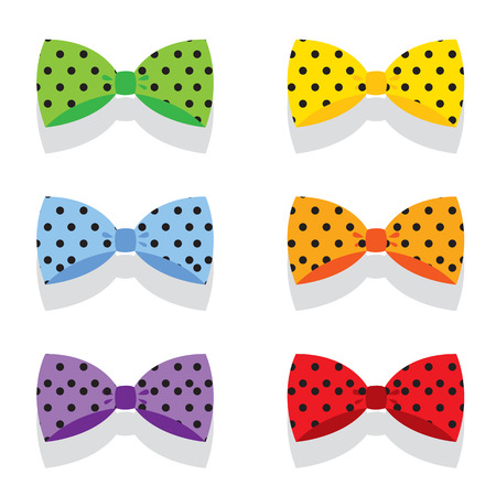 Set Of Colorful Polka Dot Bow Ties