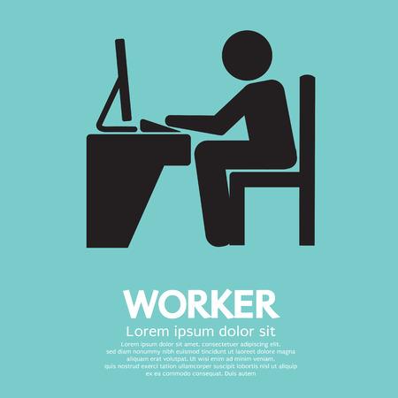 Employé de bureau utilisant l'ordinateur Banque d'images - 26453307