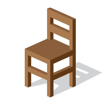 空の木の椅子の図  イラスト・ベクター素材
