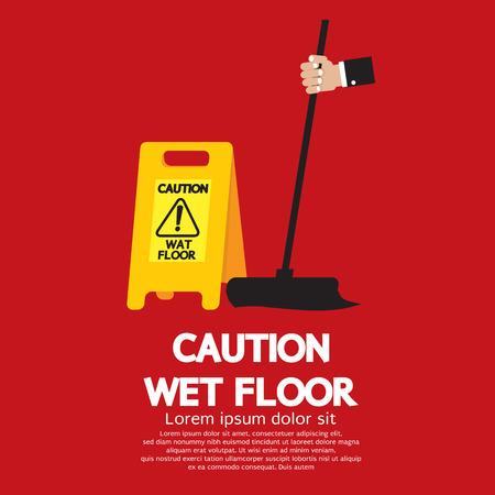 slippery floor: Caution Wet Floor Illustration