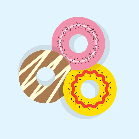 doughnut: Three Donuts Vector Illustration Illustration