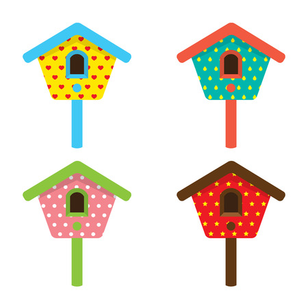 Colorful Birdhouses Vector Illustration Vector