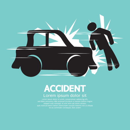 car accident: Car Accident Knocked Down A Man Vector Illustration