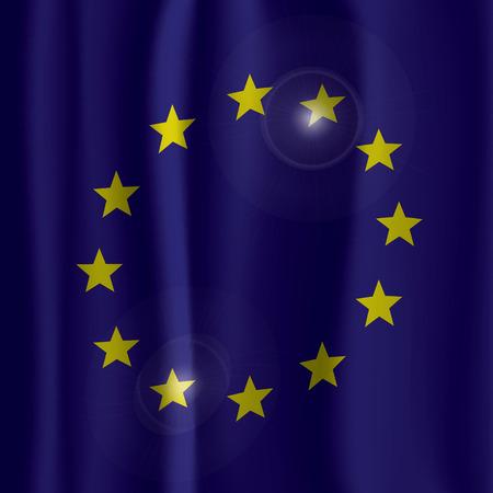 eu flag: EU Flag Curtain Vector Illustration