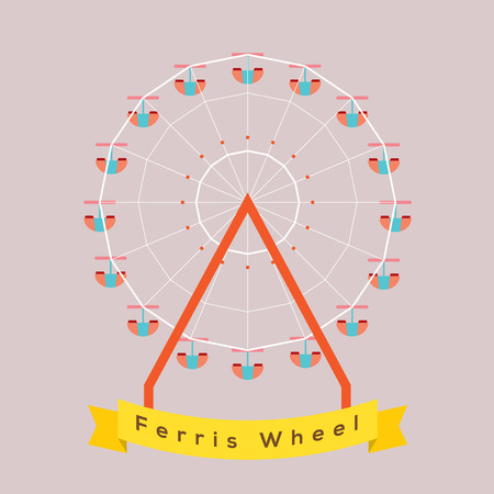 ferris wheel: Ferris Wheel Vector Illustration