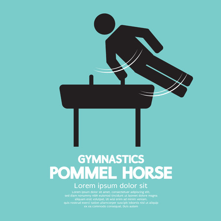 pommel: Pommel Horse Gymnastics Vector Illustration
