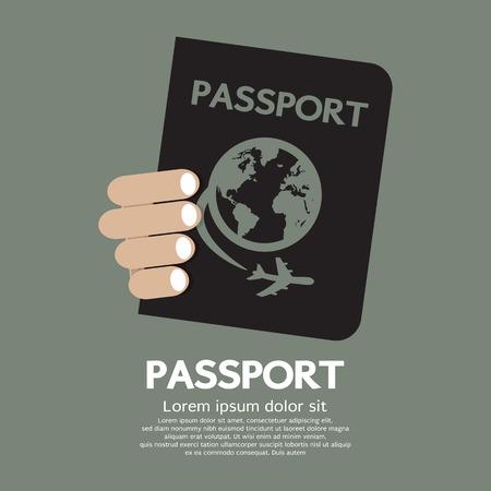 hand holding id card: Passport Vector Illustration Illustration