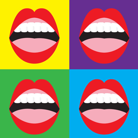 woman mouth open: Set of Open Mouth On Colorful Background