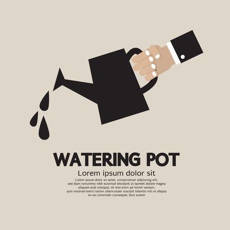 hand holding plant: Watering pot Vector Illustration Illustration
