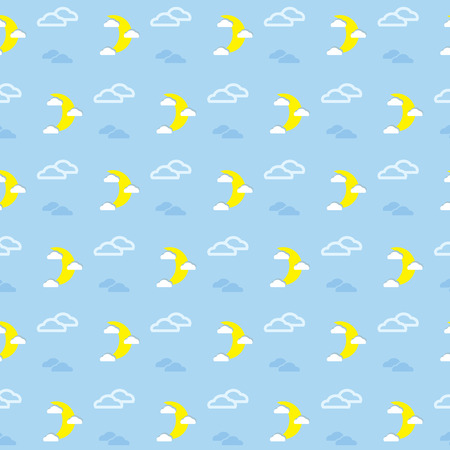 Moon and Clouds Vector Pattern Vector
