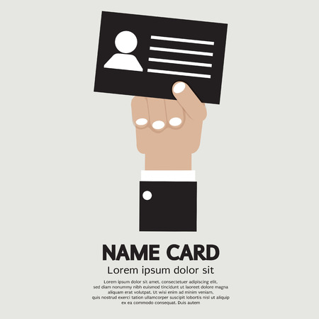 hand holding id card: Hand Holding Name Card Vector Illustration Illustration