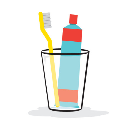 Toothpaste And Toothbrush In The Glass Vector