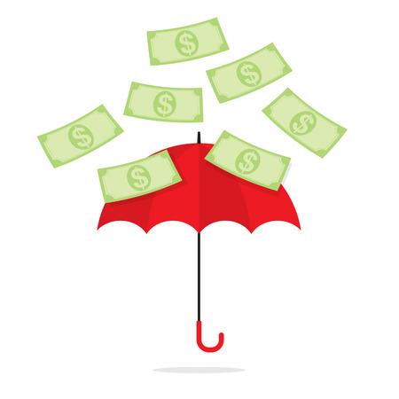 towards: Bank Notes Falling Towards Umbrella Illustration