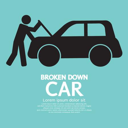 Broken Down Car Vector Illustration